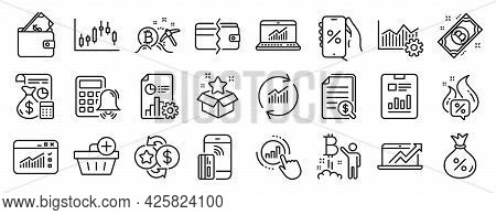 Set Of Finance Icons, Such As Contactless Payment, Bitcoin, Web Traffic Icons. Bitcoin Project, Loan