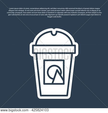 Blue Line Coffee Cup To Go Icon Isolated On Blue Background. Take Away Print. Vector