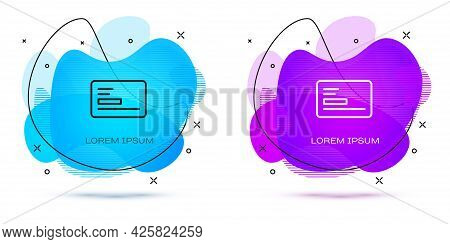 Line Visiting Card, Business Card Icon Isolated On White Background. Corporate Identity Template. Ab