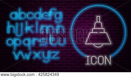 Glowing Neon Line Chandelier Icon Isolated On Brick Wall Background. Neon Light Alphabet. Vector