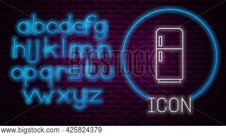 Glowing Neon Line Refrigerator Icon Isolated On Brick Wall Background. Fridge Freezer Refrigerator.