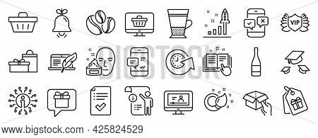 Set Of Line Icons, Such As Coffee-berry Beans, Bell, Online Video Icons. Update Time, Web Shop, Deve