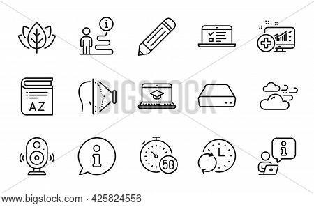 Science Icons Set. Included Icon As Update Time, 5g Internet, Speaker Signs. Vocabulary, Organic Tes