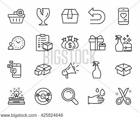 Vector Set Of Package Box, Delete Order And Search Line Icons Set. Surprise Package, Opened Box And