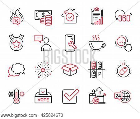Vector Set Of Business Icons Related To Full Rotation, Coffee And Checklist Icons. Dislike, Opened B