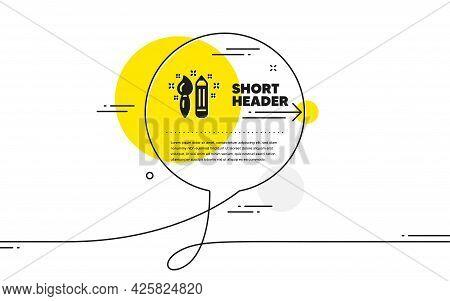 Creativity Icon. Continuous Line Chat Bubble Banner. Graphic Art Sign. Brush And Pencil Symbol. Crea