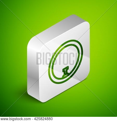 Isometric Line Bicycle Wheel Icon Isolated On Green Background. Bike Race. Wheel Tire Air. Sport Equ
