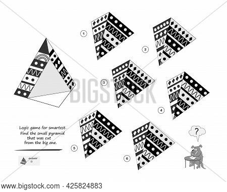 Logic Game For Smartest. Find The Pyramid That Was Cut From The Big One. Printable Page For Brain Te