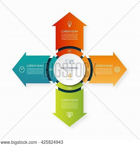 Modern Business Infographic Circle With 4 Arrows Pointing From The Center .4-step Vector Template Fo
