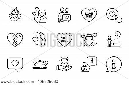 Love Icons Set. Included Icon As Love Her, Honeymoon Cruise, Dating Chat Signs. Nice Girl, Romantic