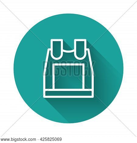 White Line Bulletproof Vest For Protection From Bullets Icon Isolated With Long Shadow. Body Armor S