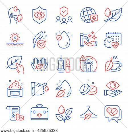 Healthcare Icons Set. Included Icon As First Aid, Vitamin E, Medical Prescription Signs. World Medic