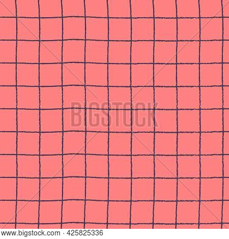 Seamless Repeating Pattern With Hand Drawn Gridline On Pink Background