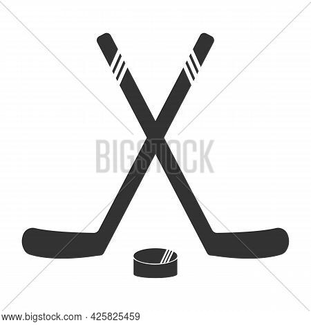 Hockey Stick And Puck Icon. Sport Icon