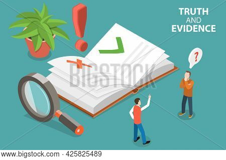 3d Isometric Flat Vector Conceptual Illustration Of Truth And Evidence, Fake News Recognition