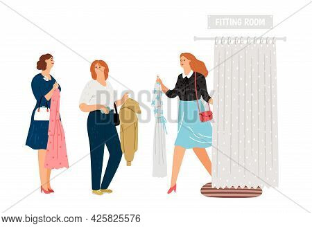 Queue To Fitting Room. Female In Fashion Store With Clothes In Waiting Line, Happy Women Vector Scen