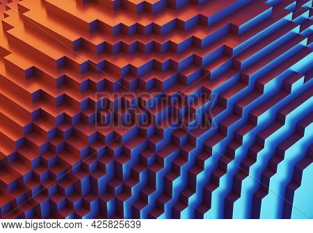 Abstract Colorful Cubic  3d Illustration For Use As Wallpaper For Ui Design Or Phone.
