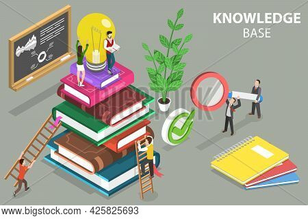 3d Isometric Flat Vector Conceptual Illustration Of Knowledge Base, Education And Self Development