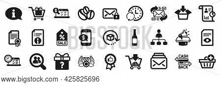 Set Of Simple Icons, Such As Laureate Medal, Secure Mail, E-mail Icons. Search Employees, Get Box, R