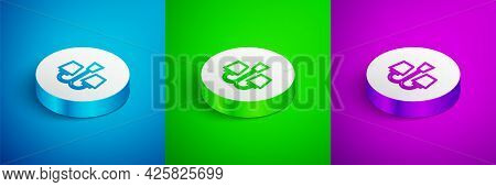 Isometric Line Chandelier Icon Isolated On Blue, Green And Purple Background. White Circle Button. V