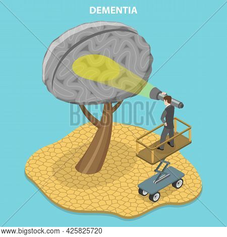 3d Isometric Flat Vector Conceptual Illustration Of Dementia Brain Disease, Memory Loss And Poor Spe
