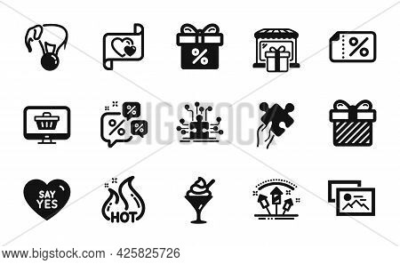 Vector Set Of Discount Banner, Gift Shop And Puzzle Icons Simple Set. Hot Sale, Photo Album And Say