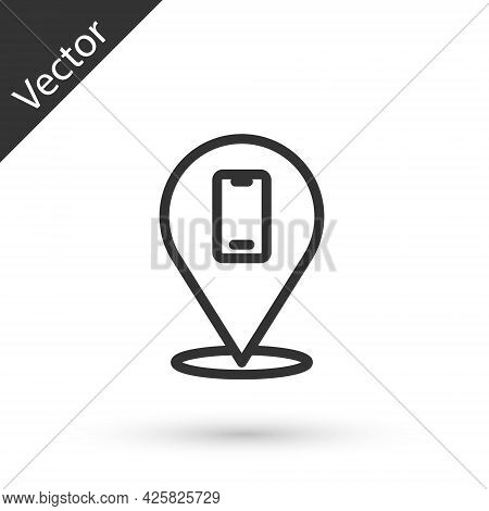 Grey Line Phone Repair Service Icon Isolated On White Background. Adjusting, Service, Setting, Maint