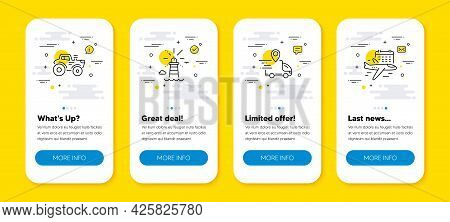 Vector Set Of Lighthouse, Tractor And Delivery Truck Line Icons Set. Ui Phone App Screens With Line