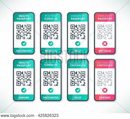 Digital Health Passport Qr Code On Smartphone Screen Set Vector. Electronic Valid And Expired Covid-