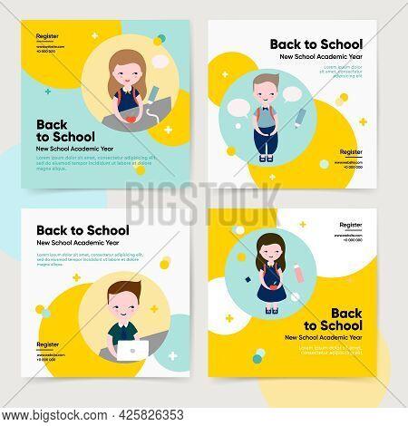 Back To School Bundle Template. Vector Illustration