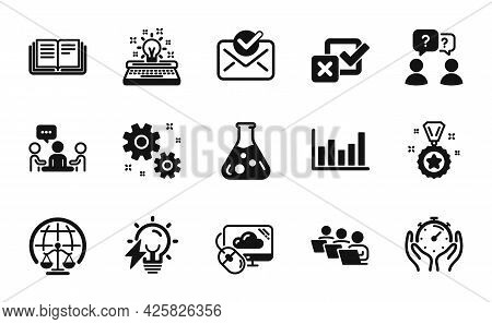 Vector Set Of Education, Approved Mail And Typewriter Icons Simple Set. Work, Electricity Bulb And W