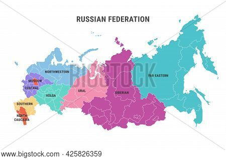 Detailed Russia Administrative Color Map With Borders Of Federal Districts Isolated On White Backgro
