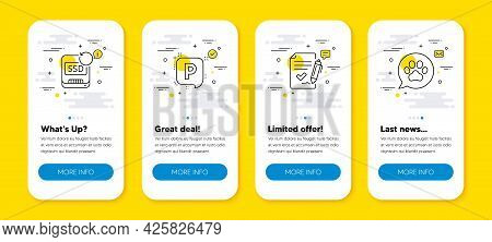 Vector Set Of Recovery Ssd, Parking And Approved Agreement Line Icons Set. Ui Phone App Screens With