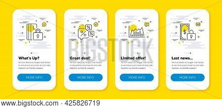 Vector Set Of Infographic Graph, Blocked Card And Discounts Chat Line Icons Set. Ui Phone App Screen