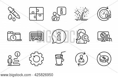 Business Icons Set. Included Icon As Cocktail, 24h Delivery, Collagen Skin Signs. Person Info, Time