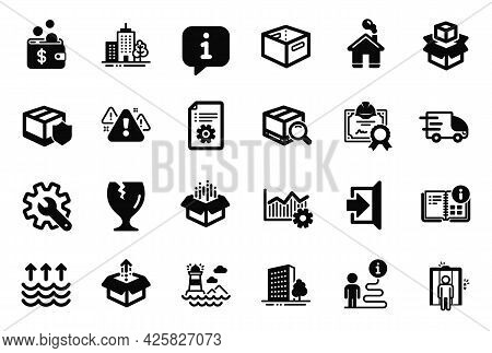 Vector Set Of Industrial Icons Related To Operational Excellence, Skyscraper Buildings And Customisa