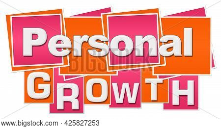 Personal Growth Text Written Over Pink Orange Background.