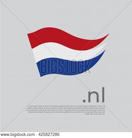Netherlands Flag Brush Strokes. Holland Flag Colors Stripes On White Background. Vector Stylized Nat