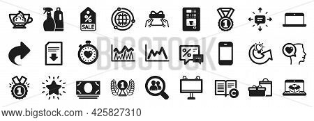 Set Of Simple Icons, Such As Rank Star, Cash Money, Sale Coupon Icons. Share, Romantic Talk, Copyrig