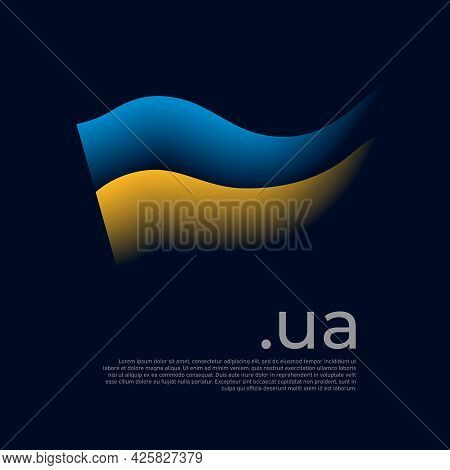 Ukraine Flag. Colored Stripes Of The Ukrainian Flag On A Dark Background. Vector Stylized Design Nat