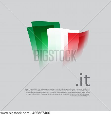 Italy Flag. Vector Stylized Design National Poster On A White Background. Italian Flag Painted With