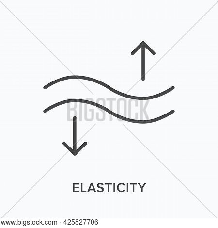 Elasticity Flat Line Icon. Vector Outline Illustration Of Flexible Surface. Black Thin Linear Pictog
