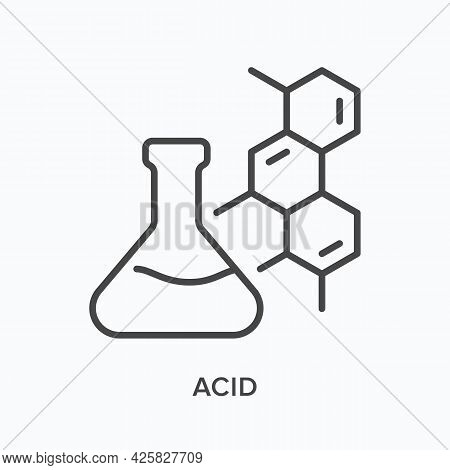 Acid Flat Line Icon. Vector Outline Illustration Of Flask And Molecular Structure. Black Thin Linear