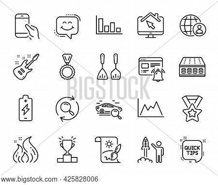 Vector Set Of Search Car, Diagram And Internet Notification Line Icons Set. Launch Project, Cooking