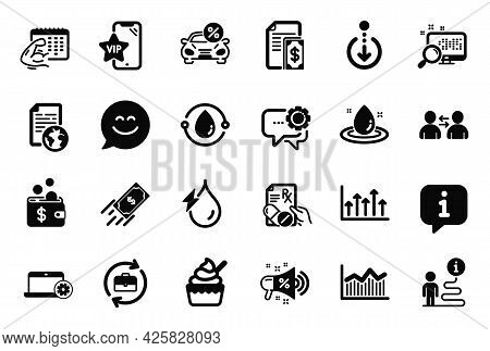 Vector Set Of Business Icons Related To Vip Phone, Prescription Drugs And Fitness Calendar Icons. Hu