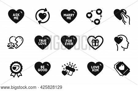 Vector Set Of Friend, Friends Community And Love Gift Icons Simple Set. Update Relationships, Love H