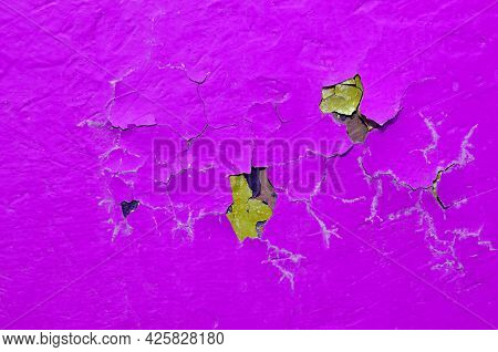 Pink peeling paint on the concrete surface, peeling paint background, pink surface of peeling paint, pink paint on the concrete background