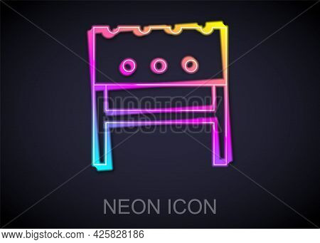 Glowing Neon Line Bbq Brazier Icon Isolated On Black Background. Vector