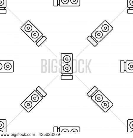 Grey Line Stereo Speaker Icon Isolated Seamless Pattern On White Background. Sound System Speakers.