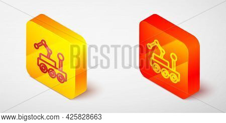 Isometric Line Mars Rover Icon Isolated On Grey Background. Space Rover. Moonwalker Sign. Apparatus